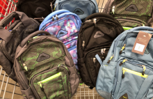 Collection of donated backpacks.